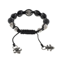 Blackout Buddha Bead Silver and Onyx Bracelet with Black Diamonds