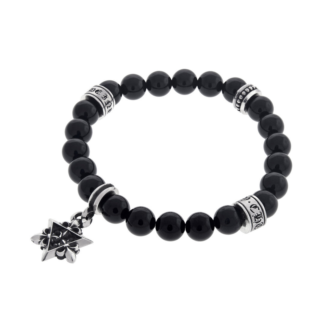 Buddha Onyx Bead Bracelet with Silver Star of David Charm