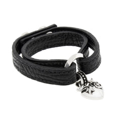 Buffalo Leather Bracelet with Silver Heart Charm