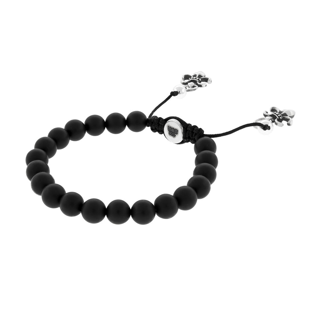 Little Buddha Bead Bracelet with Silver and Onyx Beads