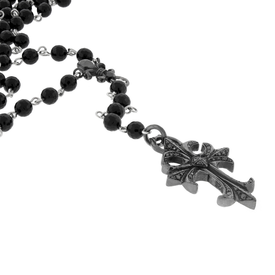 Bead Rosary with Diamond Silver Cross