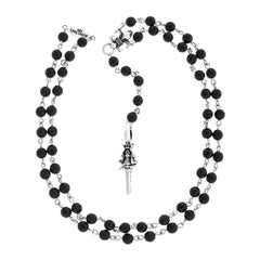 Bead Rosary with Silver Poniard