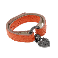 Python Leather Bracelet with 1.00ct Black Diamond Silver Heart Charm