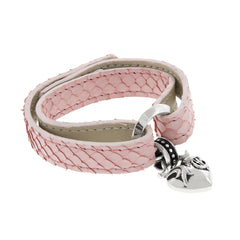 Python Leather Bracelet with Silver Heart Charm