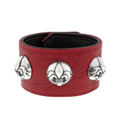 Buffalo Leather Cuff Bracelet with Silver Fleur De Lis Buttons