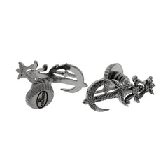 Black Poniard Silver Cufflinks with Black Diamonds