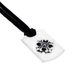 Mini Silver Dog Tag With Cross on Leather Cord