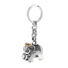 Elephant Silver KeyChain with Diamonds and Gold Crown