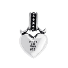 Heart Silver Pendant with Black Diamonds