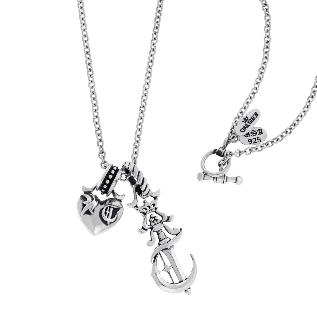 Heart and Poniard Silver Pendants on the Chain
