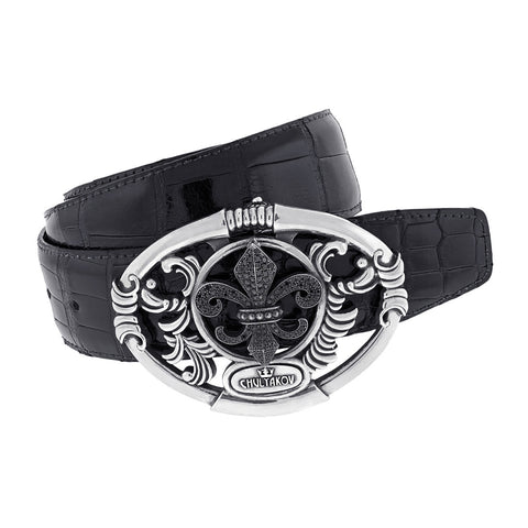 Large Fleur De Lis Silver Belt Buckle with Black Diamonds