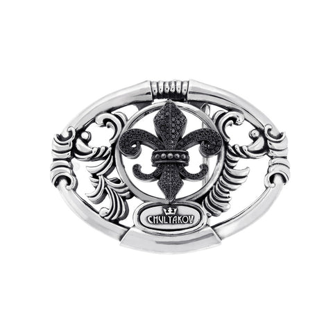 Small Fleur De Lis Silver Belt Buckle with Black Diamonds