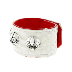 Python Leather Cuff Bracelet with Silver Fleur De Lis Buttons
