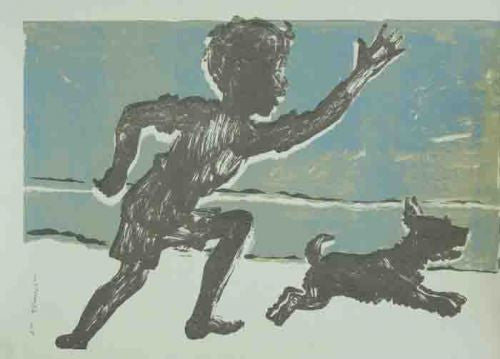 Boy and Dog Running