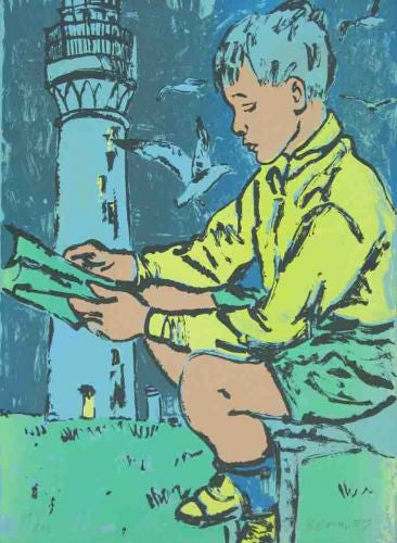 Boy Reading at Lighthouse (27/40)