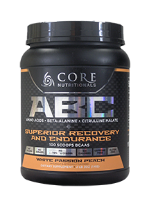 Core Nutritionals ABC Superior Recovery and Endurance 1kg 100 Scoops 50 serves White Passion Peach - Healthhub247.com
