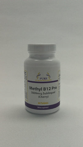 B-12 Methylcobalamin 5000mcg 60 Sublingual Lozenges Cherry -Pure Nutrition Supplements - Healthhub247.com