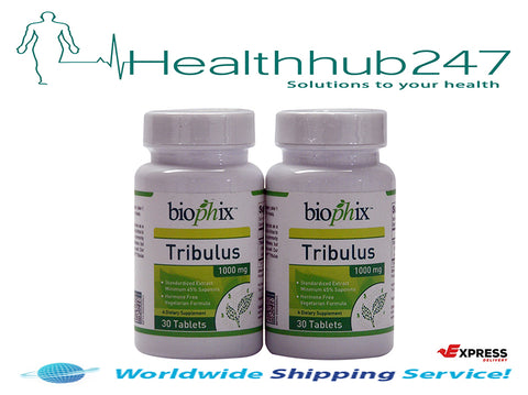 Tribulus Terrestris Testosterone Booster 1000mg 30 Tablets TWIN PACK (60 Tabs) Biophix - Healthhub247.com