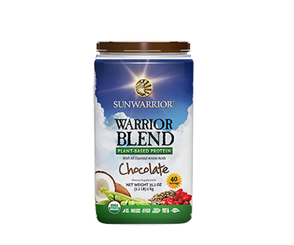 Warrior Blend Protein Chocolate 1kg Raw Vegan Sunwarrior - Healthhub247.com