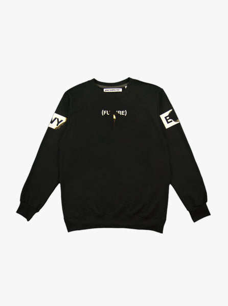 PLAY WITH FIRE LONGSLEEVE CREWNECK TEE IN BLACK