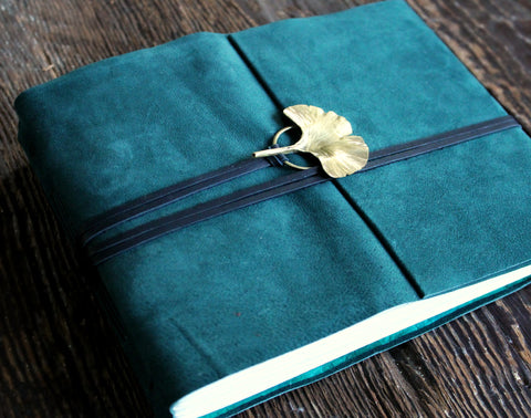 Forest Green Leather Sketchbook - SOLD