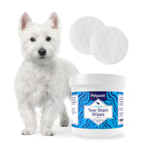 White fur dog eye wipes