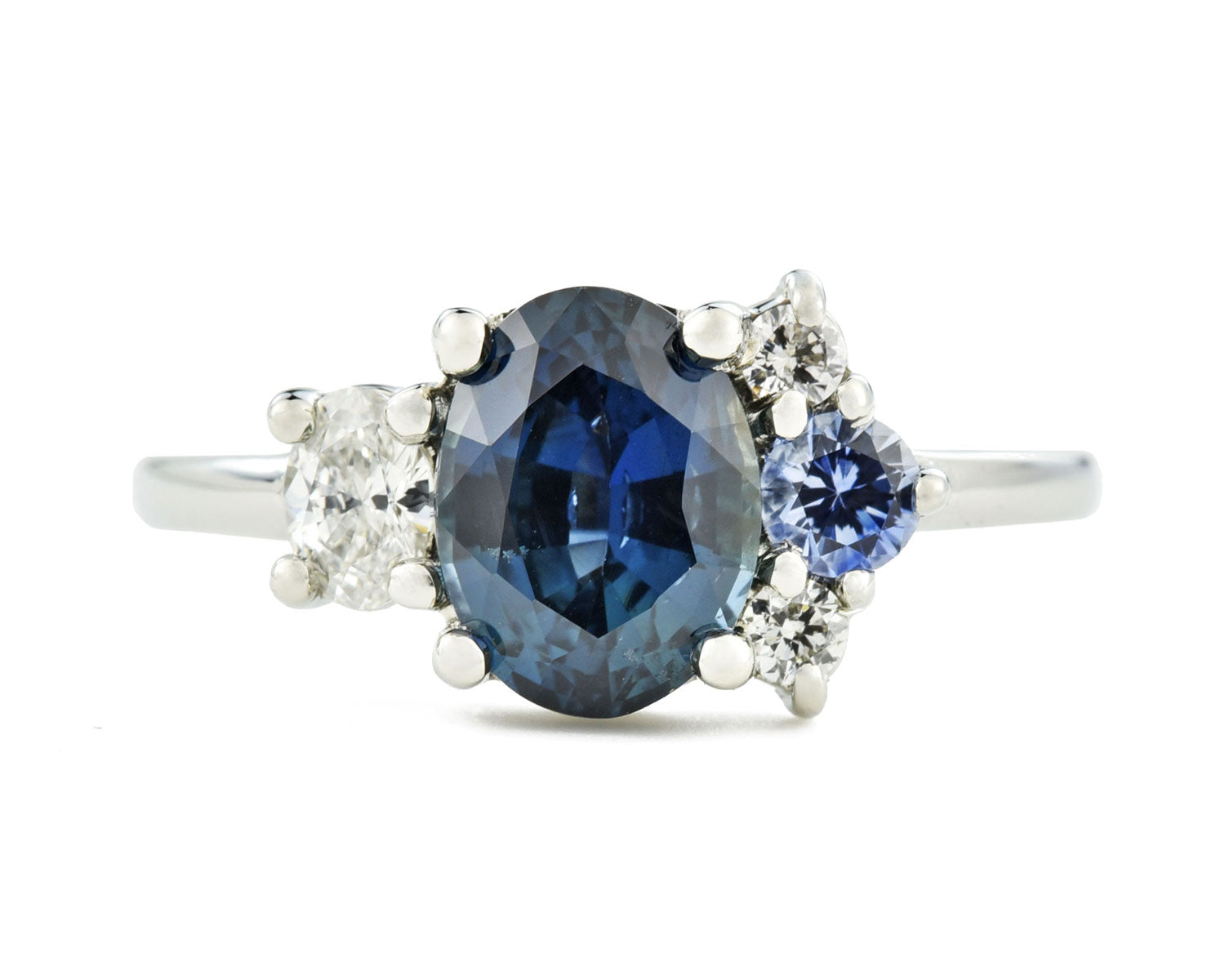 Blue sapphire cluster ring