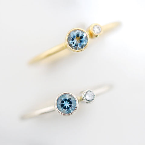 Aquamarine Stacking Birthstone Rings in Different Golds