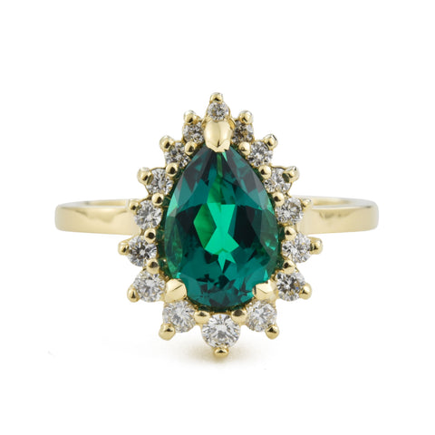Custom Pear Emerald Halo Ring