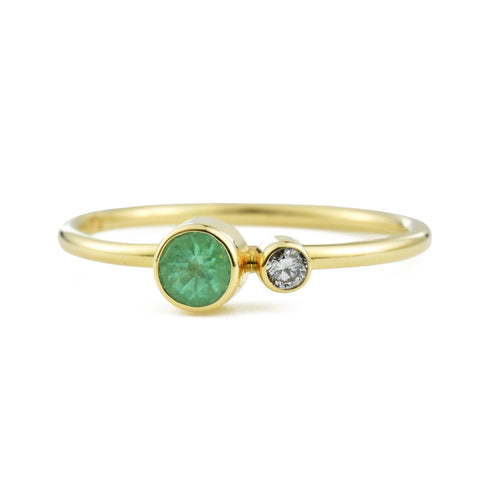 Emerald Diamond Kiss Stacking Ring