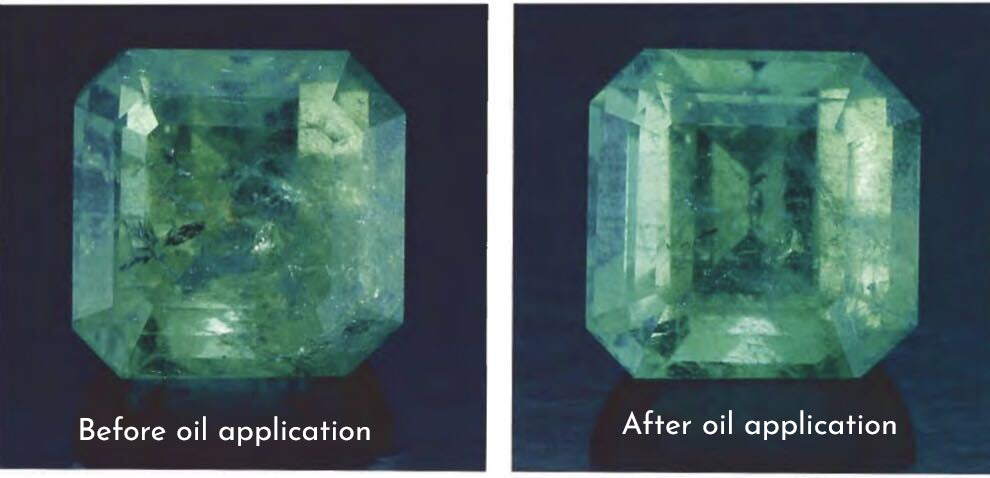 Before and after photos of an emerald with an oil application