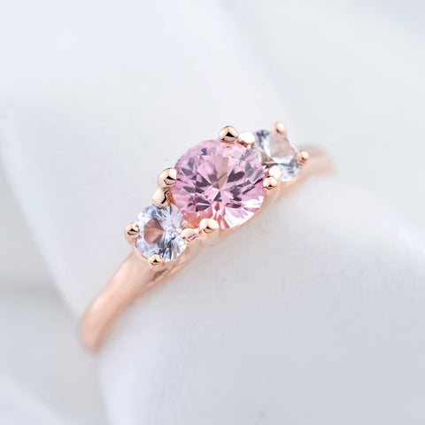 14K Rose Gold Pink Sapphire White Sapphire Three Stone Engagement Ring
