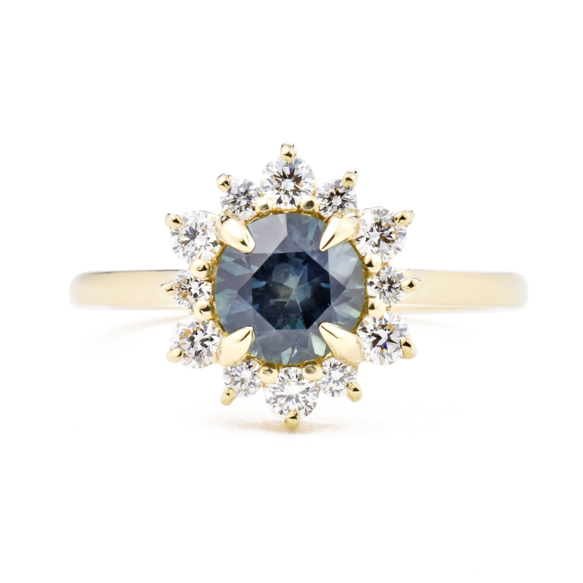 1.12ct Marisol Teal Blue Sapphire and Diamond Engagement Ring