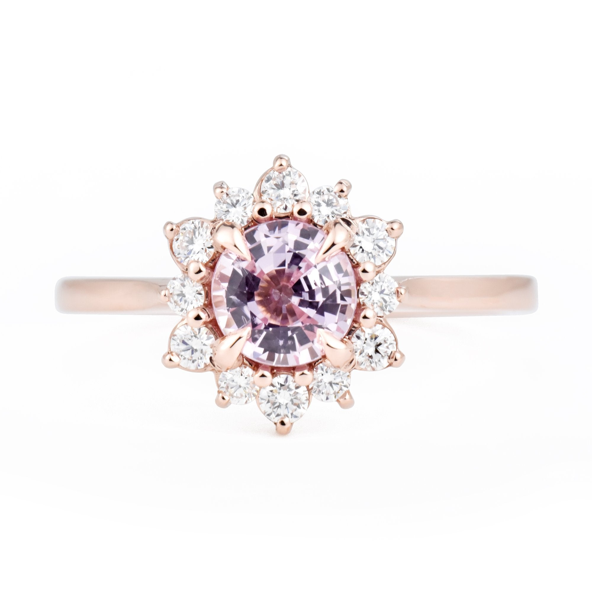 1ct Pink Sapphire Marisol Canadian Diamond Engagement Ring in Rose Gold