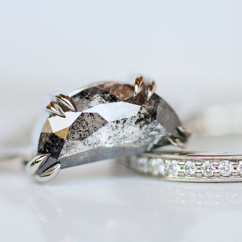 White Gold Half Moon Engagement Rings