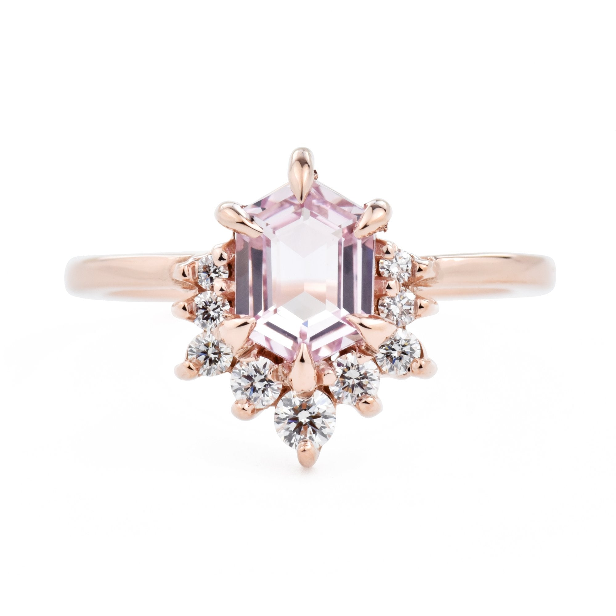 1ct Luna Hexagon Pink Hexagon Sapphire & Diamond Engagement Ring in Rose Gold
