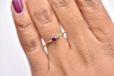 Emerald stacking ring for May babies