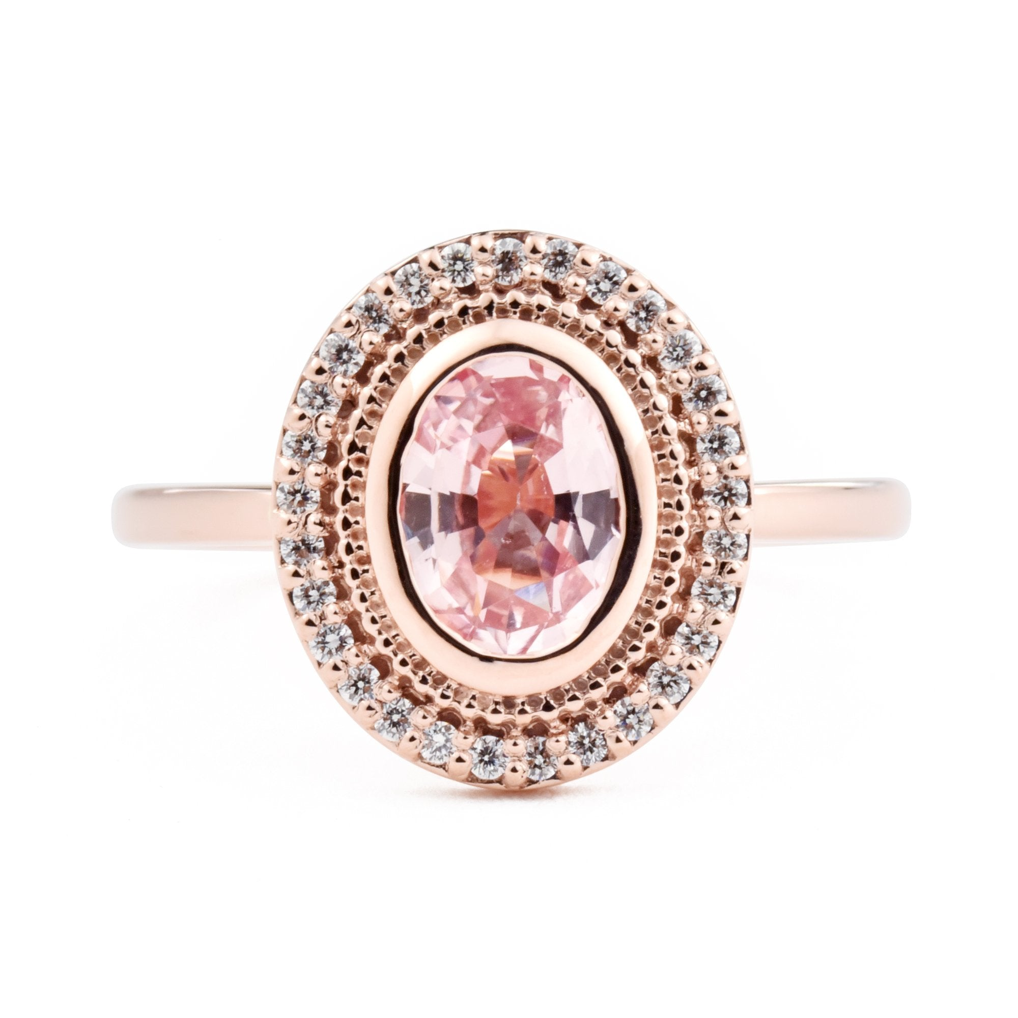 1.01ct Selena Padparadscha Pink Oval Sapphire and Diamond Halo Engagement Ring