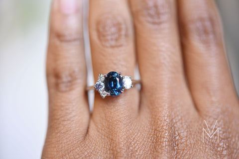 Teal Sapphire Engagement Ring by Valerie Madison