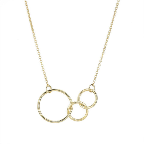 Mother's Three Ring Gold Necklace