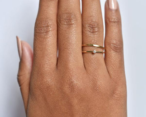 14K Gold Tiny Canadian Diamond Stacking Ring