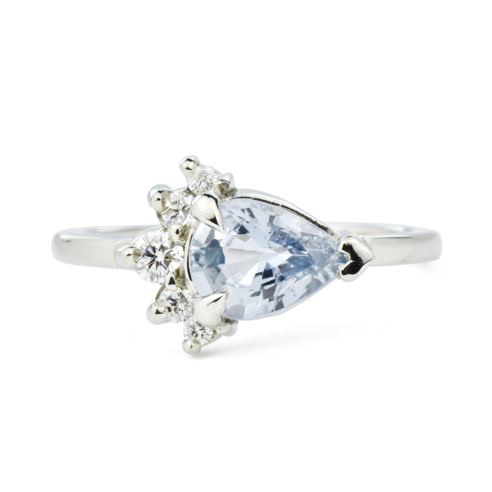 1.2ct Luna Diamond Blue Pear Sapphire & Canadian diamond Cluster Engagement Ring in White Gold
