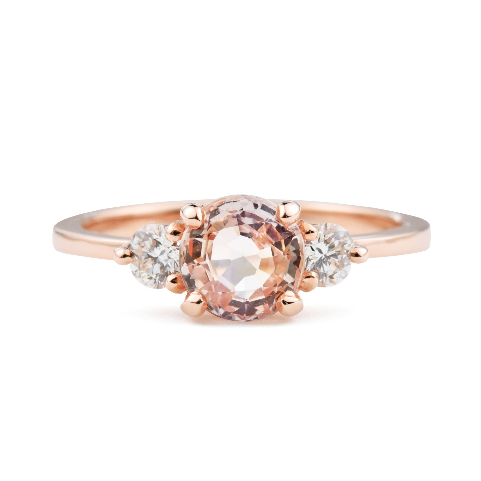 1ct Zara Pink Sapphire Three Stone Engagement Ring in Rose Gold