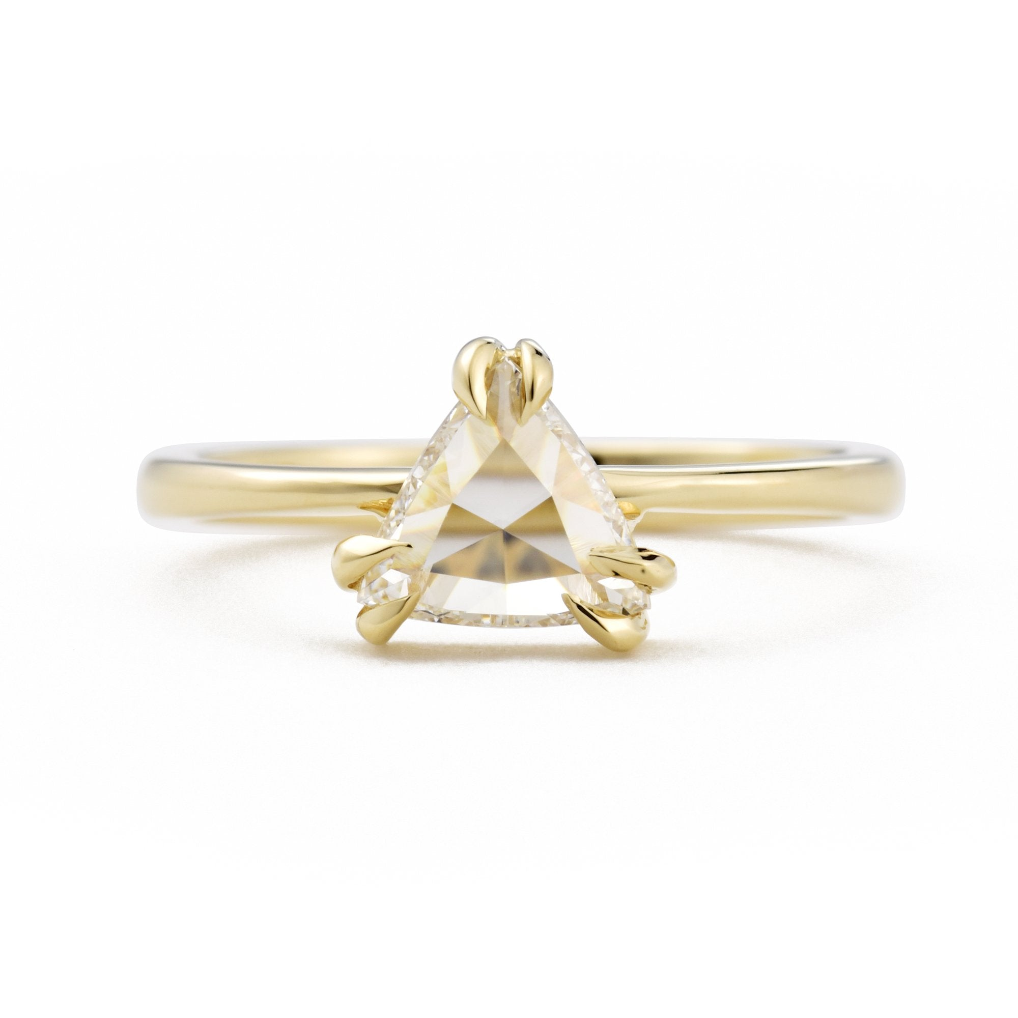 0.59ct Eva Colorless Trillion Diamond Engagement Ring in 14k Yellow Gold