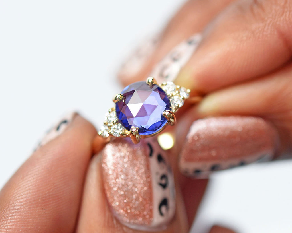 Rose Cut Sapphire Engagement Ring Vintage Inspired