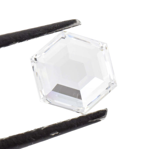 A hexagon cut colorless diamond