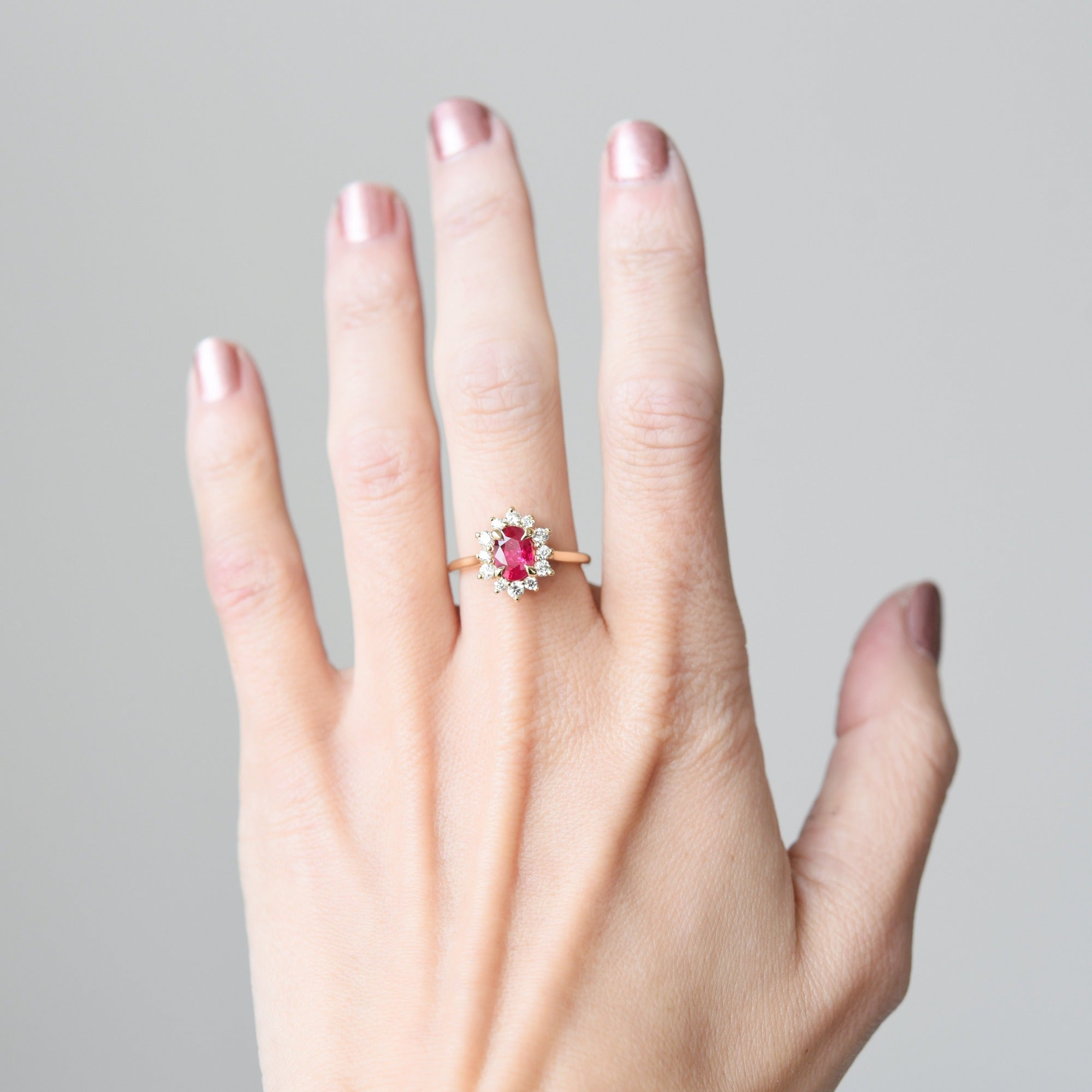 1.25ct Marisol Ruby Halo Diamond Engagement Ring shown from the front