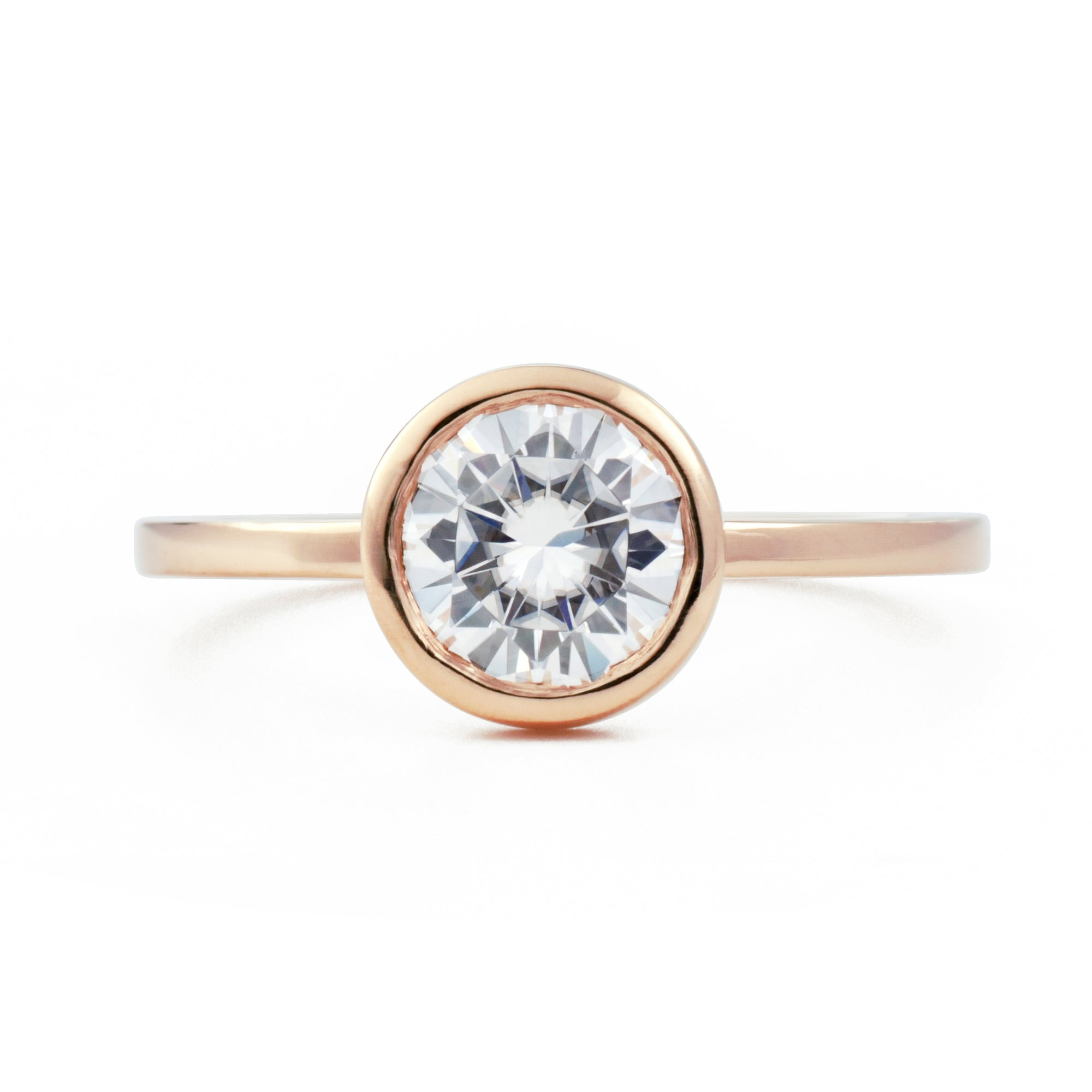 Round Aura Open Bezel Engagement Ring 1 Ct Valerie Madison