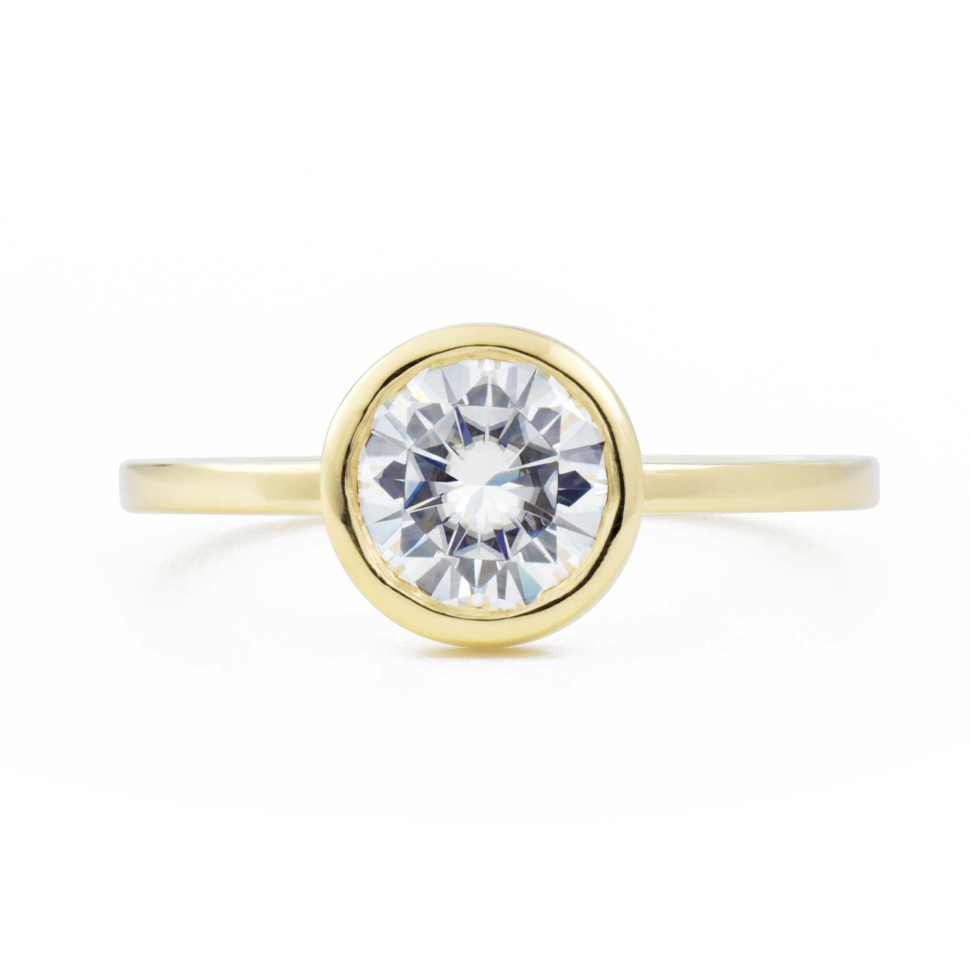 Aura Round Bezel 1ct Moissanite Engagement Ring in yellow gold