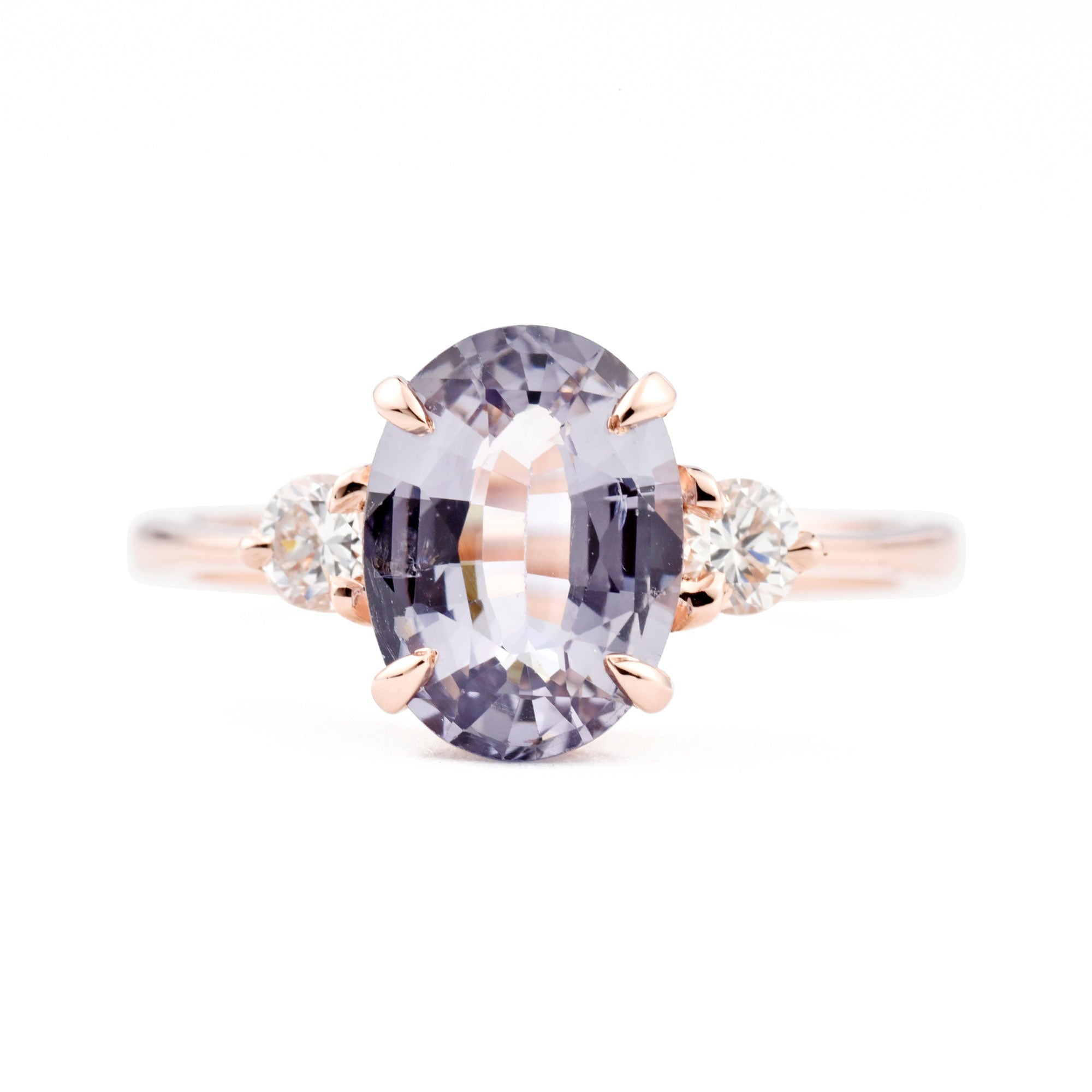 1.97ct Zara Three-Stone Lavender Gray Spinel & Diamond Engagement Ring (Size 6)